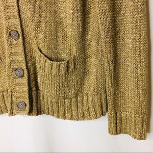 J. Crew Sweaters - J. Crew golden metallic shimmer cardigan XL 0271